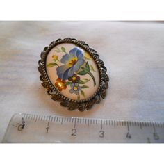 Vintage Oval Enamel Flower Brooch Listing in the 1950s-1970s,Antique & Vintage,Jewellery & Watches Category on eBid United Kingdom
