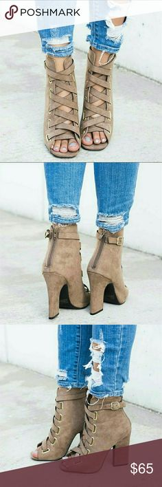 "Lace Up Vegan Suede Booties - Taupe @blushonme at Poshmark   Lace Up Vegan Suede Booties - Taupe   ALSO AVAILABLE IN BLACK!  True to size  Heel - 4 1/4""  ● PRICE IS FIRM ● Shoes Ankle Boots & Booties"