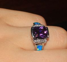 blue-fire-opal-Amethyst-Cz-ring-Gemstone-silver-jewelry-Sz-8-modern-S58A