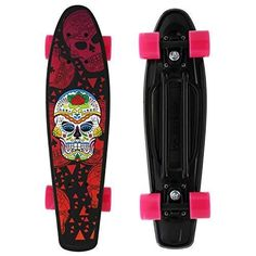 Merkapa Complete 22 inch Skull Style Skateboard for Kids, Beginners (R – Ez Sk8 Shop