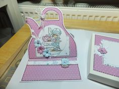 (Ref:H4) Easel card 15cm x 15cm. LOTV stamp 'Time for a cuppa' papers printed from a 'Tatty Teddy' cd.