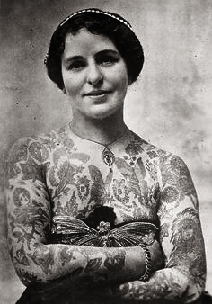 Edith Burchett, sideshow tattooed lady from UK c. 1920