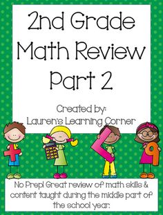 It is important to review as the year progresses and not just at the end! This packet contains review pages for second grade math. It covers skills in all four areas of second grade math according to the CCLS including: Operations and Algebraic Thinking, Numbers and Operations in Base Ten, Measurement and Data, and Geometry that have been taught in the middle part of the school year.