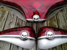Custom Motorcycle Paint Candy Red 2 Tone Skulls, Airbrushed Tank, motorcycle tank, airbrush by frank hazen White Motorcycle, Motorcycle Tank, Custom Motorcycle Paint Jobs, Custom Paint Jobs, Bullet Bike Royal Enfield, Air Brush Painting, Car Painting, Candy Red, Custom Tanks