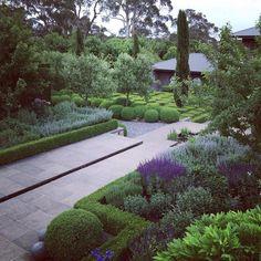 Garden Design Ideas & Inspiration : Paul Bangay Garden Design Pinned to Garden Design by Darin Bradbury of BASK Landscape Design. Residential Landscaping, Outdoor Landscaping, Green Landscape, Landscape Design, Formal Gardens, Outdoor Gardens, Contemporary Garden Design, Australian Garden, Garden Pool