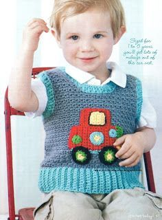 written in english and spanish directions. Baby Knitting Patterns, Knitting For Kids, Love Crochet, Crochet Baby, Knit Crochet, Crochet Ideas, Crochet Vests, Knit Vest Pattern, Cute Pattern
