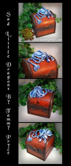 Ooak Polymer Clay Blue Sad Little Dragon on small by TammyPryce $48 #dragons…