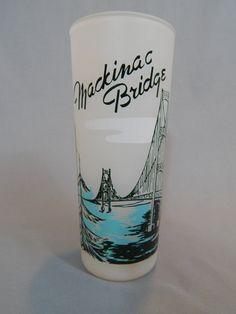 Vintage 1950s Souvenir Glass Mackinac Bridge by SlyfieldandSime