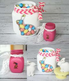 From plain jars to Painted Bunny Jars, great for Easter and Spring decorating and gift giving with Plutonium™ Paint Mason Jar Crafts, Mason Jar Diy, Spring Crafts, Holiday Crafts, Valentine Crafts, Hoppy Easter, Easter Bunny, Easter Party, Easter Treats