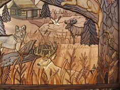 Custom Intarsia wood art Cabin Fever by RCCustomWoodArt on Etsy