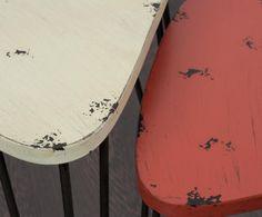 Set de 2 mesas en metal – beige y rojo | Westwing Home & Living