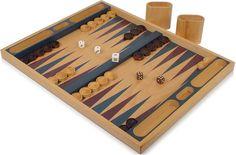 "Beech & Blue Veneer Wood Backgammon  Set - Table Top  19"", $49.95, classic look, very sharp! #backgammonboardgames"