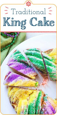 Celebrate Mardi Gras with a homemade King Cake filled with cinnamon and sugar. If you cant make it to New Orleans bring it to you with this step-by-step guide to making this colorful classic celebration cake baby and all! Cake Recipes, Dessert Recipes, Desserts, Sweets Recipe, Donut Recipes, Breakfast Recipes, King Cake Recipe, Kid Friendly Dinner, Simply Recipes