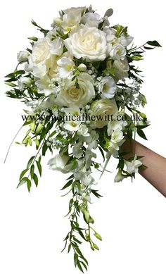 Wired Bouquet Rose Freesia Orchid white Cream