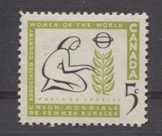 Canada #385 5c Apple Green And Black 1959 Woman And Tree VF 84 NH Variety Rose Crafts, Country Women, First Day Covers, Bee, Poster, Canada, Kids Rugs, Apple, Graphic Design