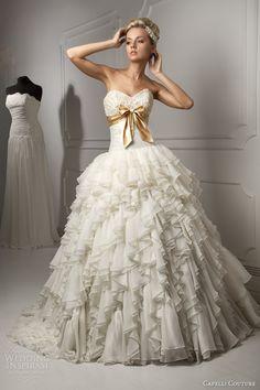 capelli couture bridal 2013 luigi strapless wedding dress ruffle ball gown skirt