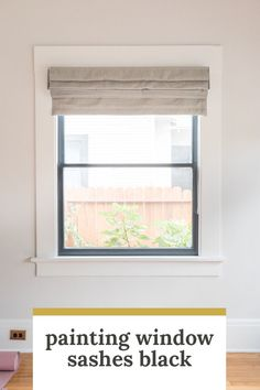 Selecting window coverings - both solar shades and roman shades for different types of sun protection and to adjust lighting.roman shade on window with black sash and white trim. Black Window Trims, Black Windows, Wood Windows, Windows And Doors, Casement Windows, Interior Window Trim, Home Interior, Interior Livingroom, Craftsman Trim