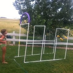 The kid-wash is done! PVC pipe, sponges and noodles and the hose of course!