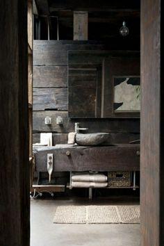 vasque en pierre, salle de bains rustique