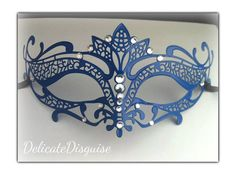 Blue Masquerade Mask Metal Tiara by DelicateDisguise on Etsy