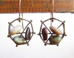Heptagon - Plata Cobre Pendientes de aro en Sterling - Playa Piedras - Platería - Rachel M Mensaje