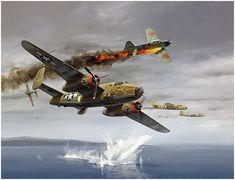 """The Ordeal of Tondelayo by Jack Fellows The crew of the 500th Bomb Squadron B-25D-1 """"TONDELAYO"""" fight for their lives over St. Georges Chan..."""