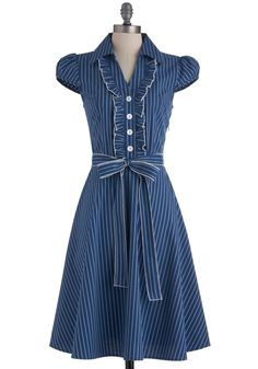 About the Artist Dress in Blue Stripe - Blue, White, Stripes, Buttons, Ruffles, Casual, Vintage Inspired, Cap Sleeves, Long, Shirt Dress, Belted, Fall, Work