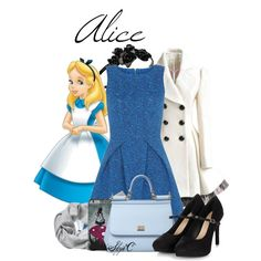 Alice - Fall - Disney's Alice in Wonderland by rubytyra on Polyvore featuring Closet, Dolce&Gabbana, Banana Republic, L. Erickson, Disney, Fall, disney, aliceinwonderland, disneybound and fall2015