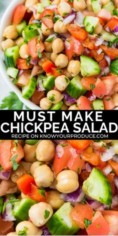 Jan 2020 - This Chickpea Salad is a light and refreshing summer salad recipe and you can easily add in more veggies too! It's vegan, oil-free, gluten-free, and plant-based. Chickpea Salad Recipes, Summer Salad Recipes, Summer Salads, Vegetarian Recipes, Cooking Recipes, Healthy Recipes, Vegan Vegetarian, Clean Eating, Healthy Eating