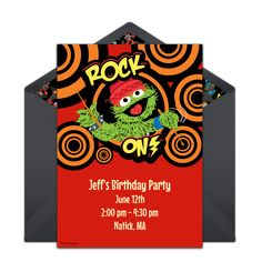 A free Oscar the Grouch birthday invitation- one of our favorites! Personalize and send via text, email, or social media. Sesame Street Birthday Invitations, Oscar The Grouch, Online Invitations, Punch Bowls, Scribble, Little Ones, Party Supplies, Social Media, Easy