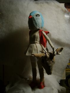 Lunar Doll- Sculpture- Only for comission- Textil -whith animals heads -. $1,850.00, via Etsy.