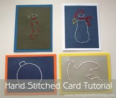 So in my search for new, and different, handicrafts for the New Year, I decided upon these wonderfully simple hand-stitched cards : T...