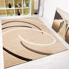Moderner Designer Teppich Kreisel Muster Handgeschnittene Konturen, �KO TEX Zertifiziert - Pflegeleicht, Farbe Beige Braun, VIMODA; Ma�e: 200x290 cm