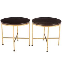 Paul McCobb; Brass and Wood Side Tables for Directional, 1950s.