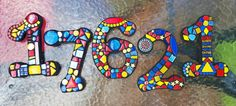 Custom mosaic numbers by Tina @ Wise Crackin' Mosaics