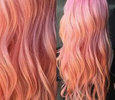 37 Ideas For Hair Color Orange Pink Beauty Pink Peach Hair, Peach Hair Colors, Coral Hair, Pastel Hair, Ombre Hair, Orange Pink, Lilac Hair, Hair Colours, Green Hair