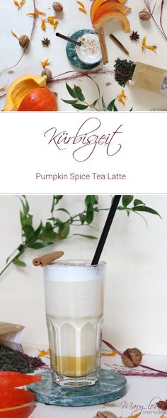 Kürbiszeit - Pumpkin Spice Tea Latte - Rezept - veganes Milchgetränk - Kürbisgetränk im Herbst - Kürbis im Getränk - Veganes Heißgetränk - #kürbis #pumpkinspicetea #pumpkin
