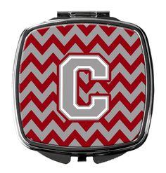 Letter C Chevron Crimson and Grey Compact Mirror CJ1043-CSCM