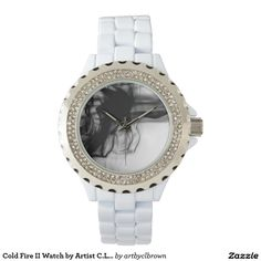 Black Fire II Rhinestone White Enamel Watch Designed by Artist C.L. Brown and available in a variety of styles on Zazzle. #watch #watches #fashion #accessories #artbyclbrown