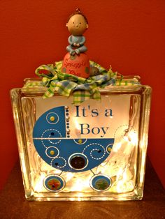 """Embellished """"It's A Boy"""" Lighted Glass Block. Decorative Glass Blocks, Lighted Glass Blocks, Glass Cube, Glass Boxes, Glass Block Crafts, Glass Craft, Jar Crafts, Decor Crafts, Vinyl Projects"""