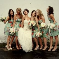 Fun floral bridesmaid dresses at a vintage-infused Chicago wedding