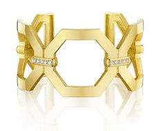 Penny Preville large octagon cuff with diamonds set in 18-karat gold.