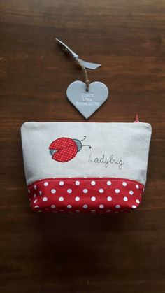 Ladybug ladybird applique makeup bag free-motion machine embroidery, Zip-Pouch, Cosmetic bag, Girls Case, Wash bag, Toiletry case,GBP9.00 by CurlyEmmaEmbroidery on Etsy