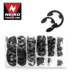 """Neiko E-Clip Assortment Set (300 Pieces) by Neiko. $6.24. 60# high carbon steel, heat treated.  Contents: 20pcs-5/8"""", 3/4"""", 7/8"""", 30pcs- 1/16"""", 1/8"""", 40pcs-3/16"""", 1/2"""", 50pcs-1/4"""", 3/8"""". Save 69% Off!"""
