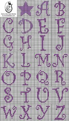 Alphabet chart for tapestry crochet.