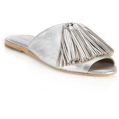 Loeffler Randall Kiki Metallic Leather Tassel Slide Sandals (€335) found on Polyvore featuring shoes, sandals, apparel & accessories, silver, metallic sandals, leather slide sandals, leather peep toe sandals, loeffler randall and peeptoe shoes