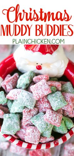 Christmas Muddy Buddies - chex cereal tossed in peanut butter, red and green candy melts and powdered sugar. This stuff is SO good! I am totally addicted to it!! This recipe makes a TON! Makes a great homemade gift for the holidays!