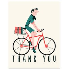 Vintage Bicycle  Thank You Card by RadioRoadPress on Etsy, $4.00