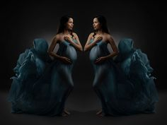 Pregnancy fashion photo shoot by London Master Photographer Susan Porter-Thomas using mirroring and turquoise chiffon in the studio with dark background  #maternityphotography #kensingtonmums#maternityfashion #maternitydress #inspirepregnancy #babybump #thebump #thirdtrimester #bumpstyle #maternityphotos #maternityshoot #stylishbump #mommytobe #privatefamilyclubslondon #privatehospitals #nightnanny #thehurlinghamclub #familyholidays #pregnancyphotos #maternitysession Maternity Photographer, Maternity Session, Maternity Dresses, Pregnancy Fashion, Pregnancy Photos, Strapless Dress Formal, Formal Dresses, Bump Style, Fashion Photo