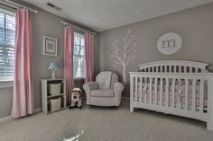 Pink and gray nursery - I like the light gray walls with pink curtains and white tree/furniture